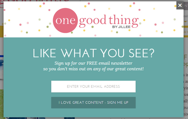 one good thing signup form