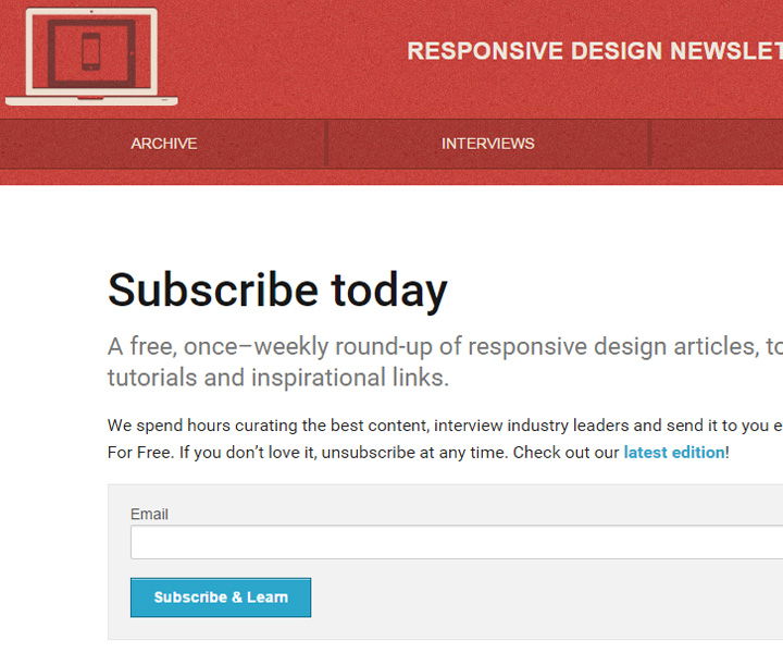 responsive weekly newsletter signup