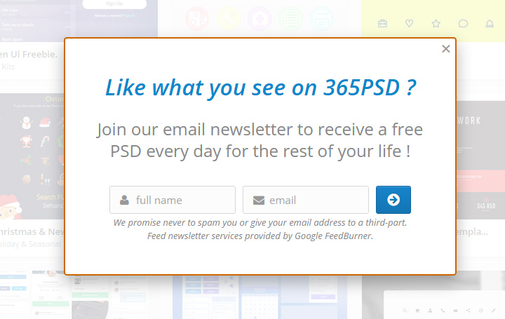 365 psd signup form gallery