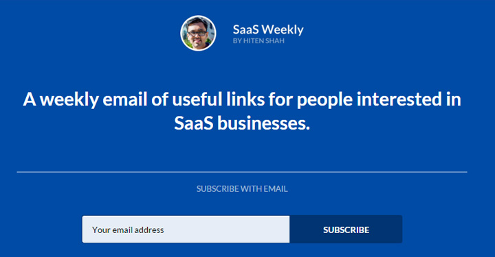 saas weekly newsletter signup
