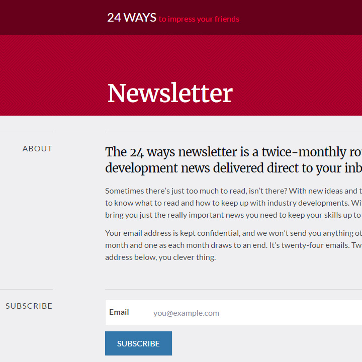 24 ways newsletter signup page