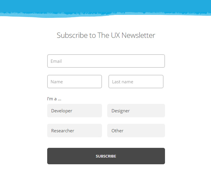 ux newsletter homepage signup