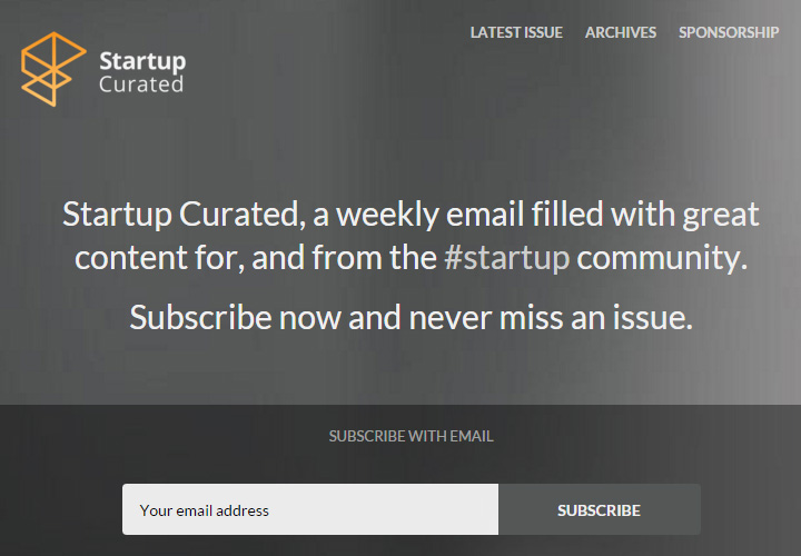 Startup Curated newsletter