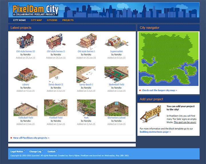 pixeldam city website layout