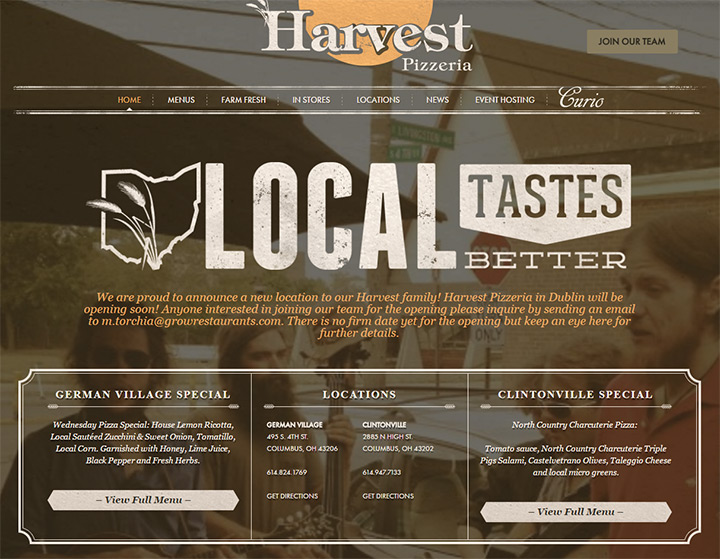 harvest pizza website