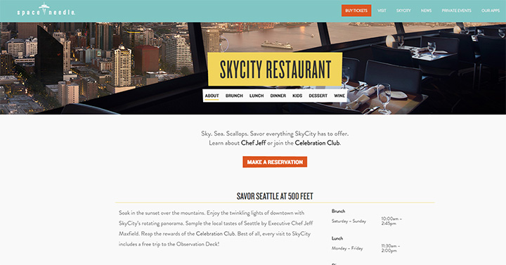space needle restaurant website