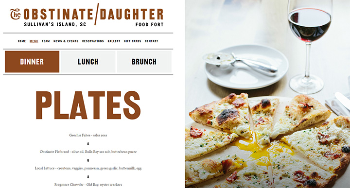 obstinate daughter restaurant website