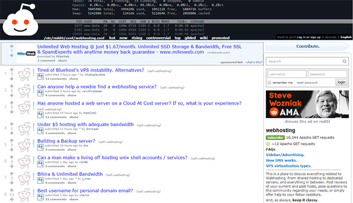 reddit webhosting community