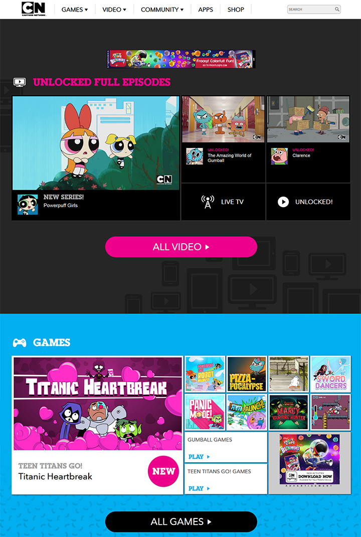 cartoon network homepage website