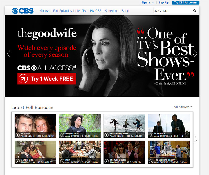 cbs broadcasting website