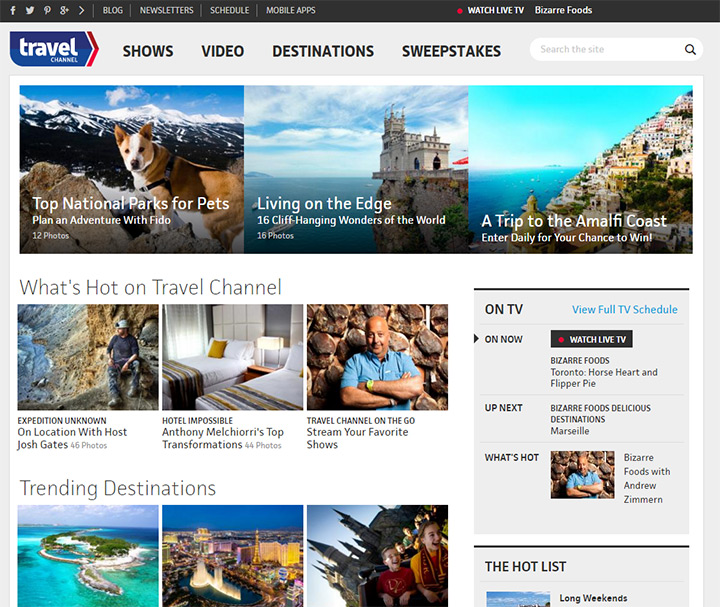 travel channel website
