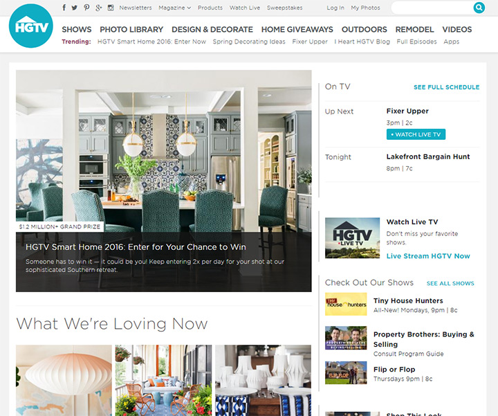 hgtv channel website