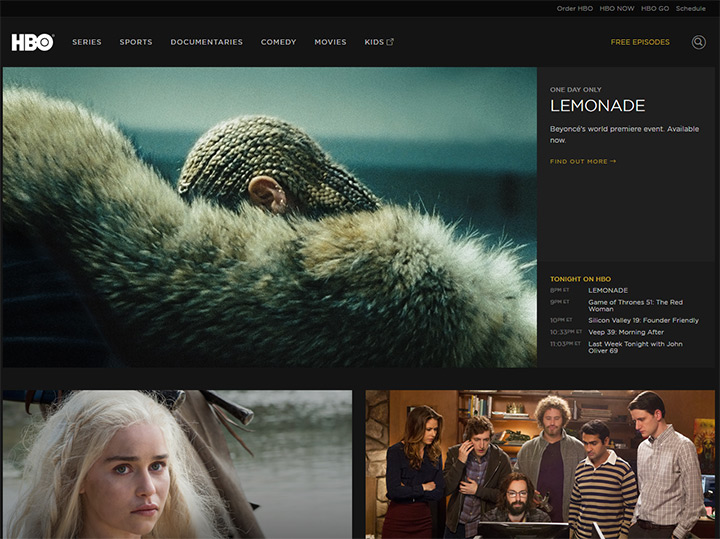 hbo tv channel website