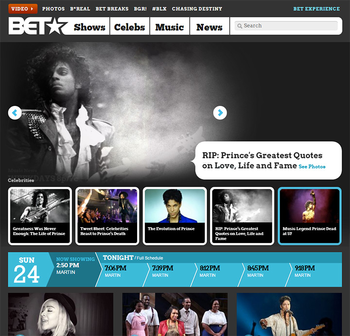 black entertainment television website