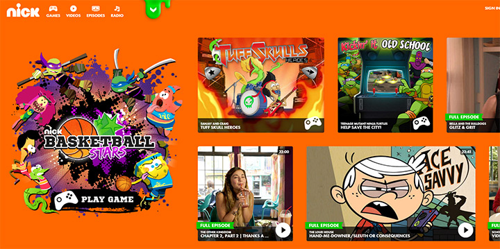 nickelodeon tv network website