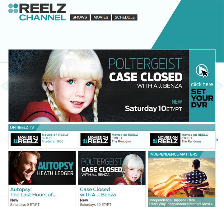 reelz tv channel website