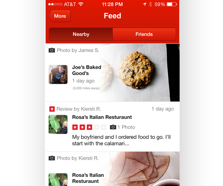 yelp mobile app feed ui