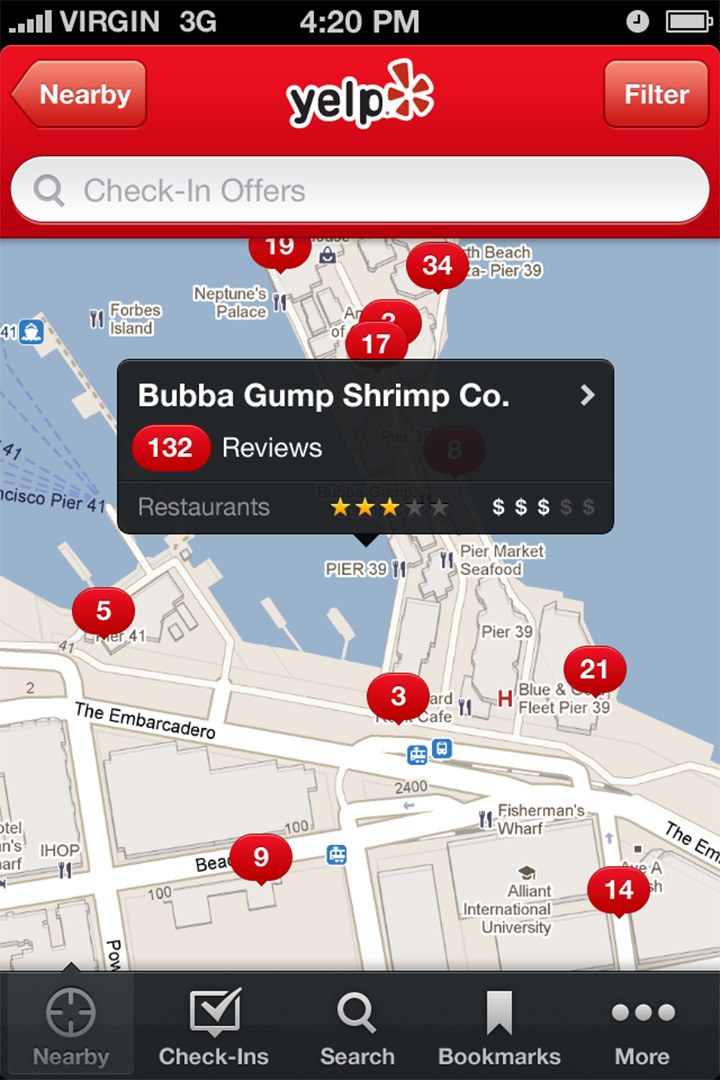 ios6 style yelp design map screen