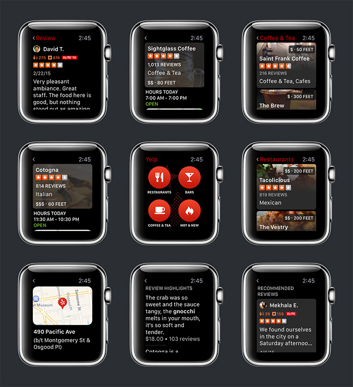 yelp apple watch app ui