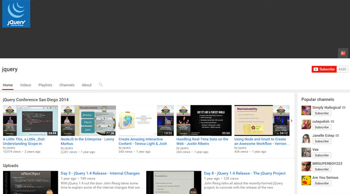 jquery video youtube channel