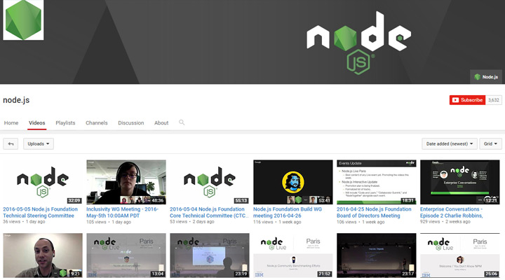 nodejs youtube channel