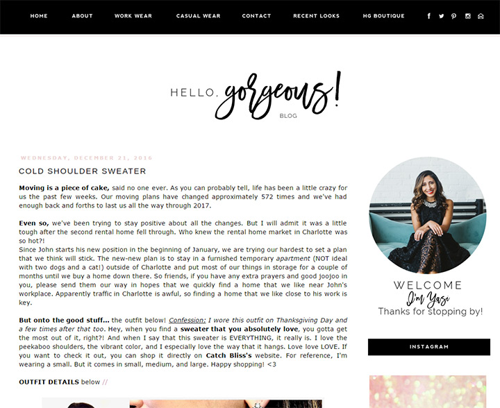 hello gorgeous blog