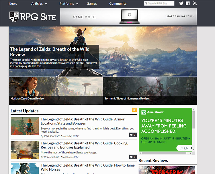 rpg site layout
