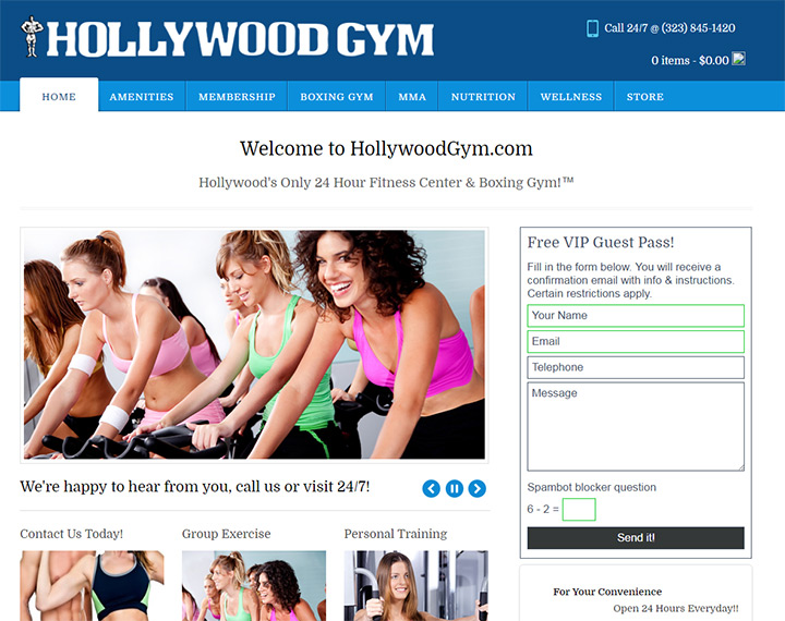 Best excercise center and gym websites
