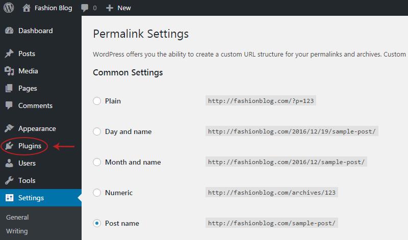 plugins menu link