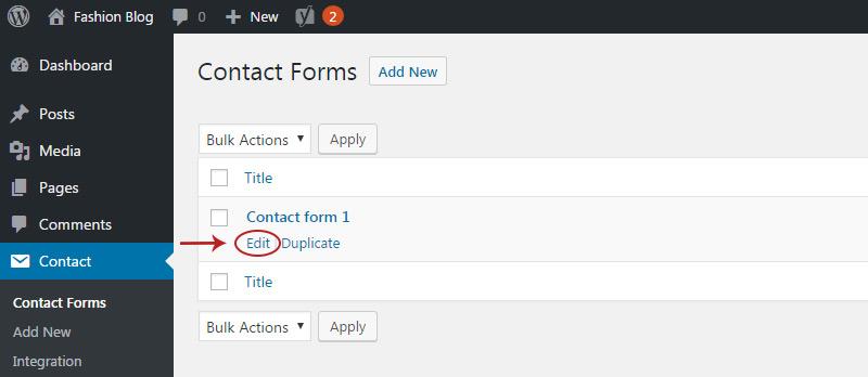 edit contact form link