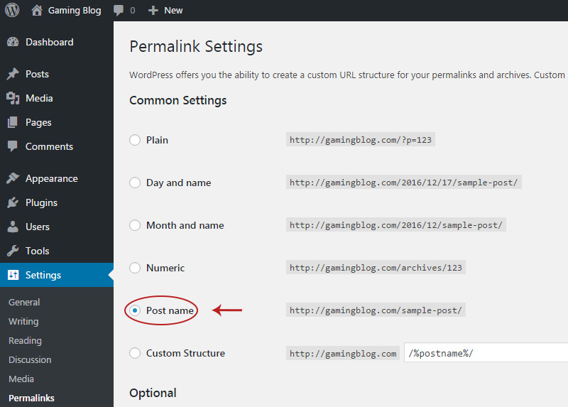 change wordpress permalinks
