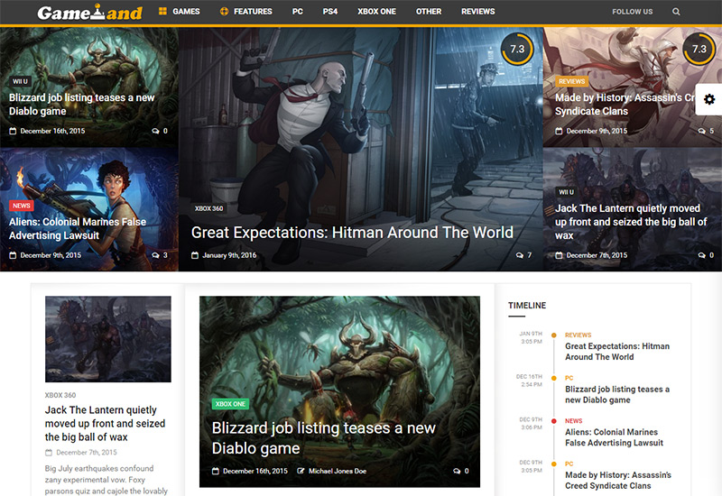 gameland news gamer theme