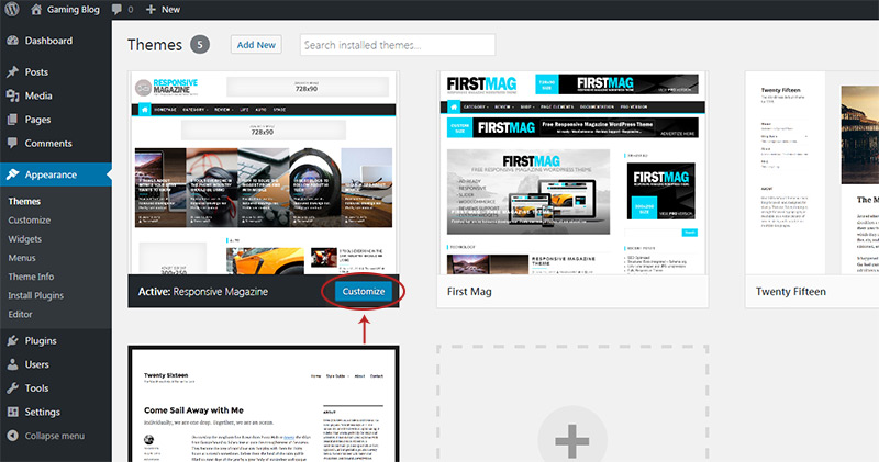 customize themes wordpress