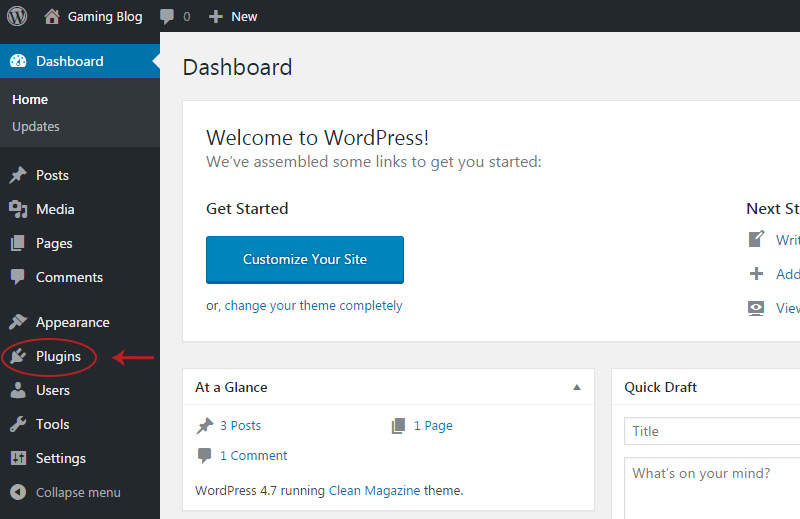wp plugins menu link