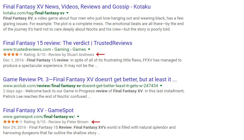 google rich snippets star review rating