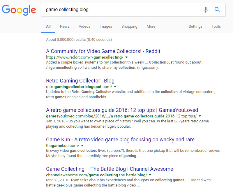 game collecting google search