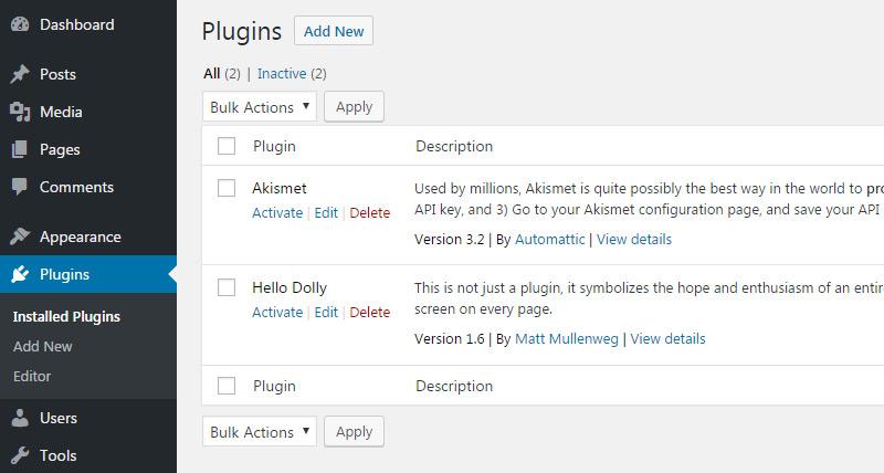 plugins list