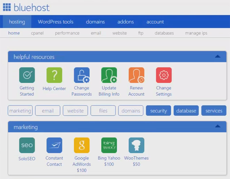 bluehost dashboard boxes