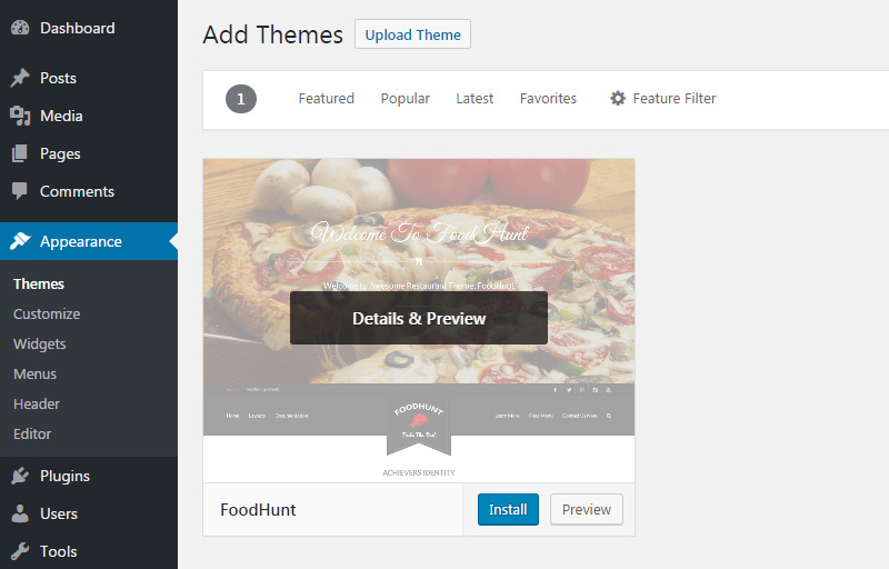 install foodhunt theme