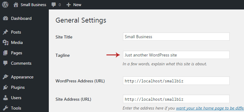 wordpress tagline settings