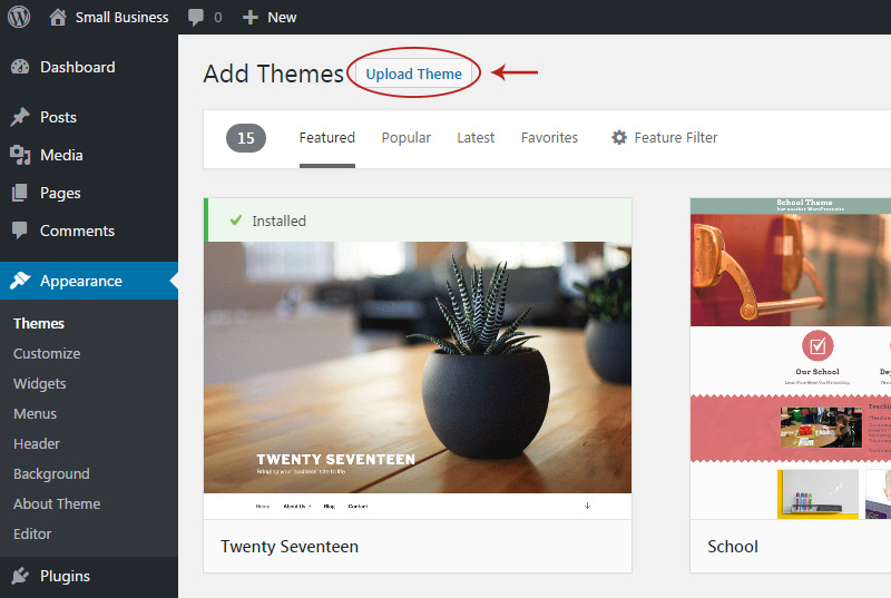 upload wp theme