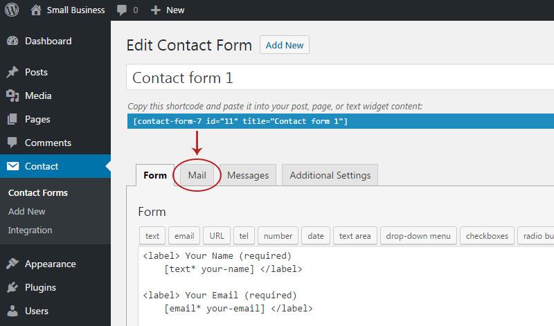 mail tab contactform admin