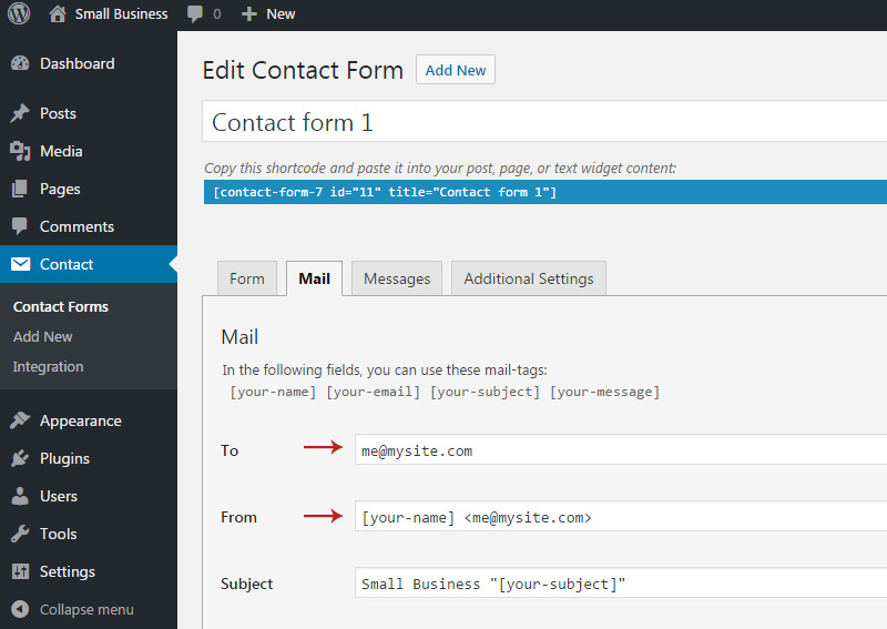 add new email contact form