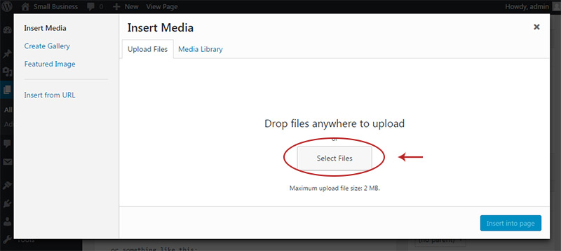 upload media in wordpress