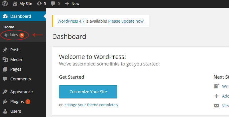 wordpress updates bubble