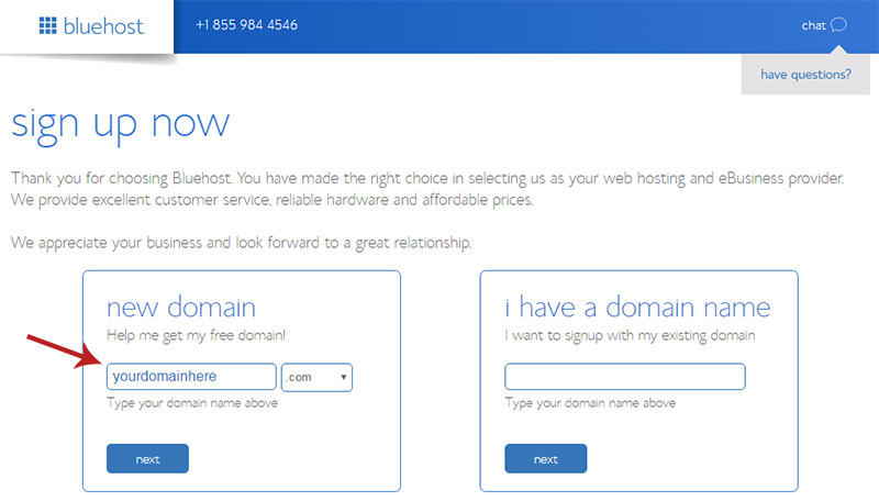 enter domain bluehost