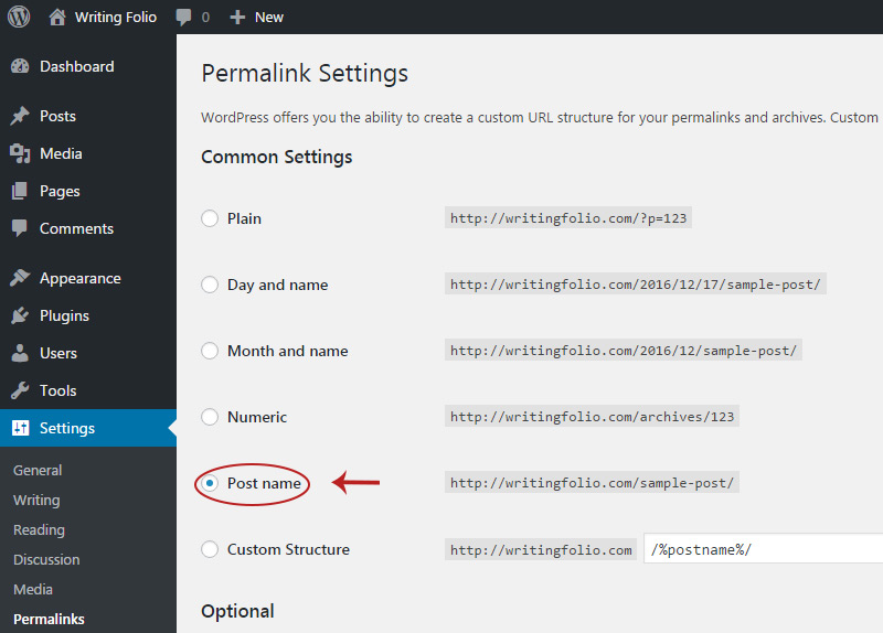 permalinks setting page
