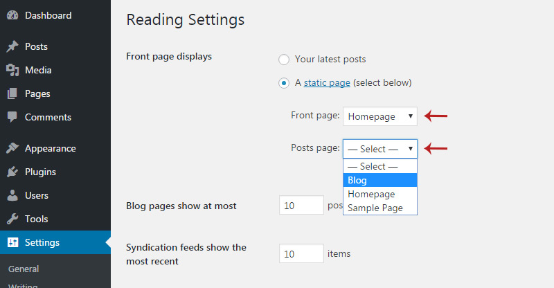select static page dropdowns