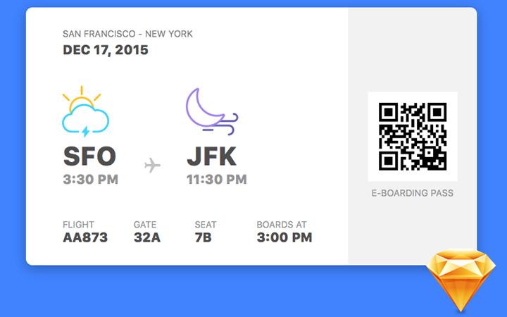 sketch freebie boarding pass