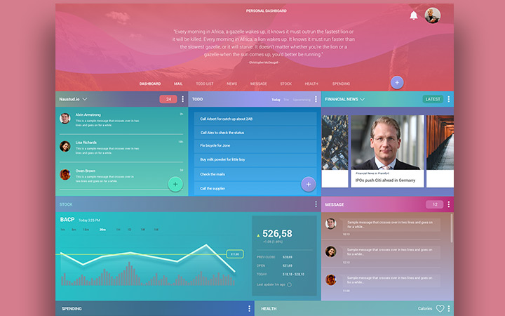 personal dashboard freebie